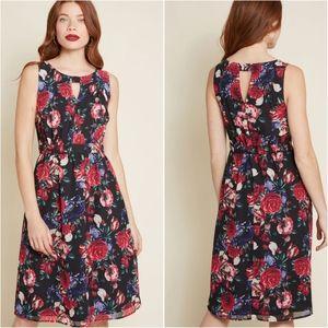 NWOT Modcloth Black Floral Flaunts & Needs Dress